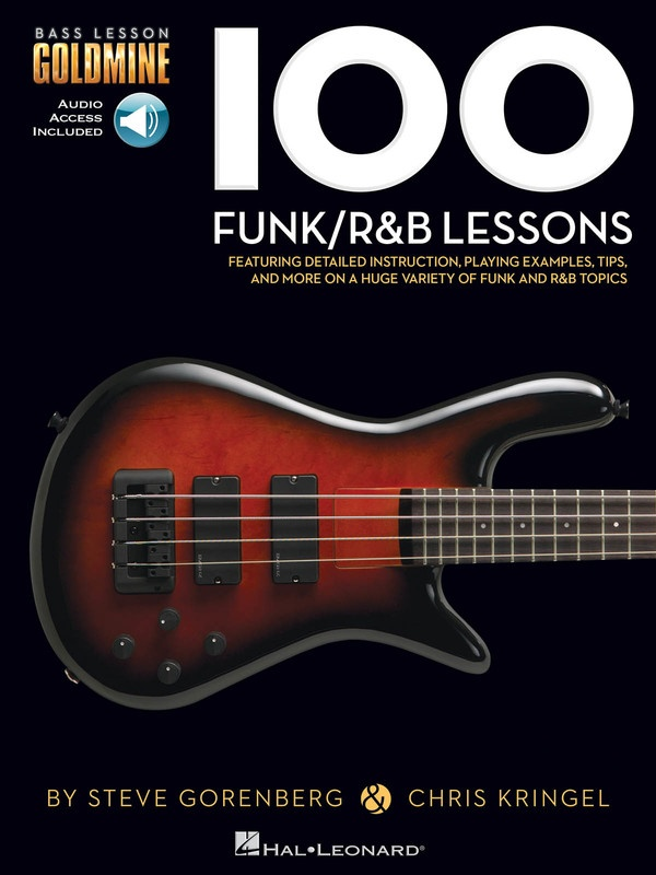 100 FUNK/R&B LESSONS  BASS GOLDMINE SERIES BK/OL