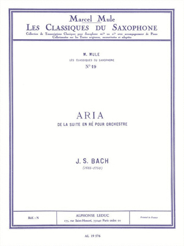 ARIA FROM SUITE IN D SAX/PIANO
