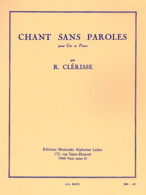CHANT SANS PAROLES HORN/PIANO