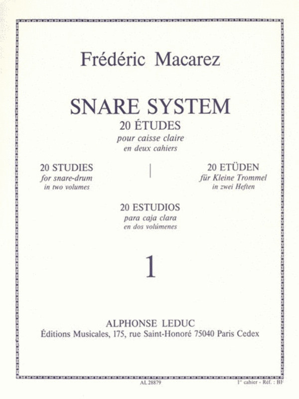 NARE SYSTEM 20 STUDIES FOR SNARE DRUM VOL 1