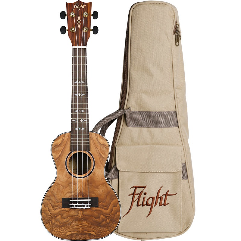FLIGHT DUC410 QA QUILTED ASH CONCERT UKE W/BAG