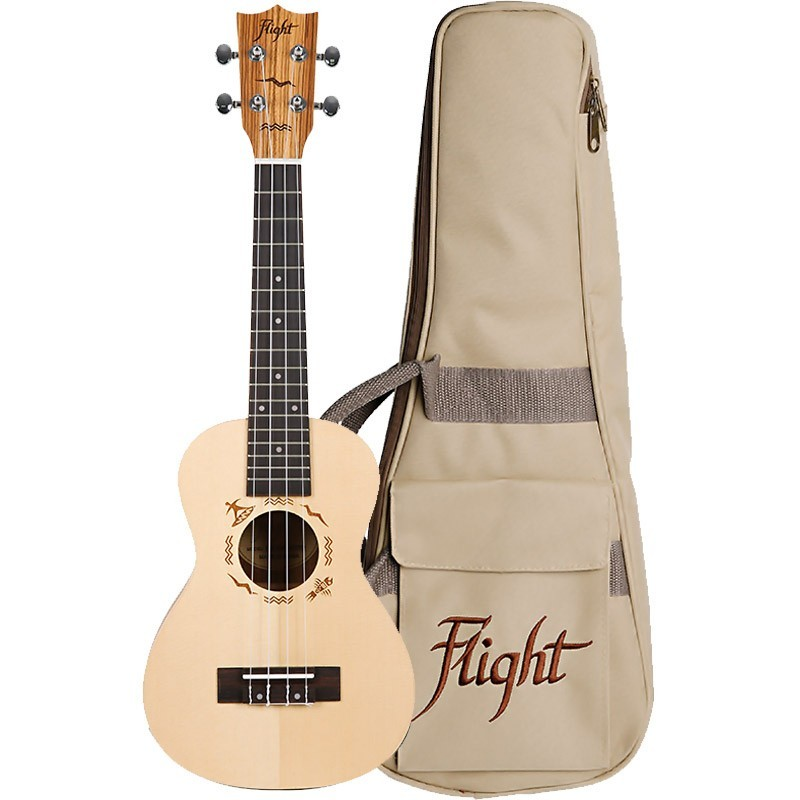 FLIGHT DUC525 CONCERT UKE SOLID SPUCE/ZEB W/BAG