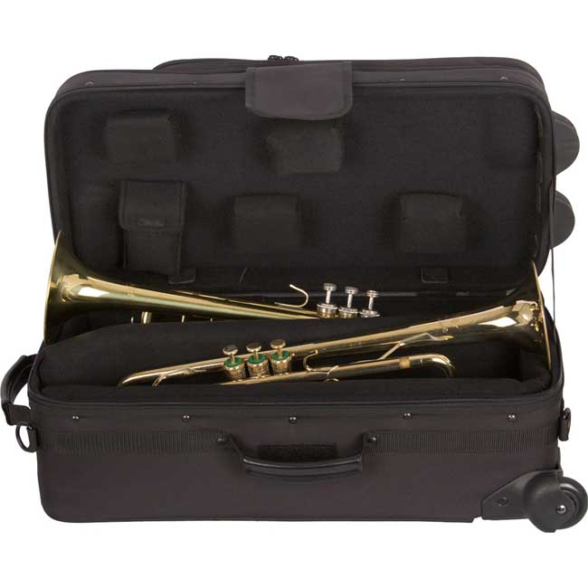 PROTEC iPAC Double Trumpet Case with Wheels with a Free Lock