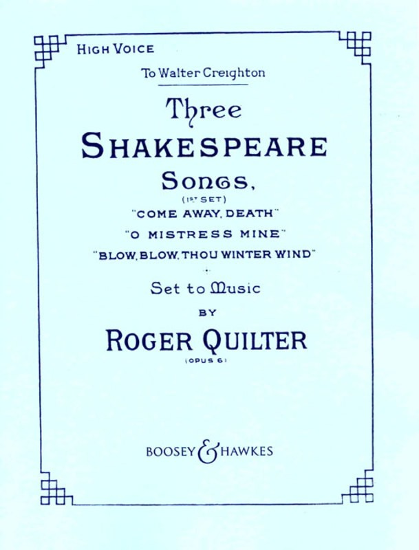 3 SHAKESPEARE SONGS OP 6 HIGH VOICE