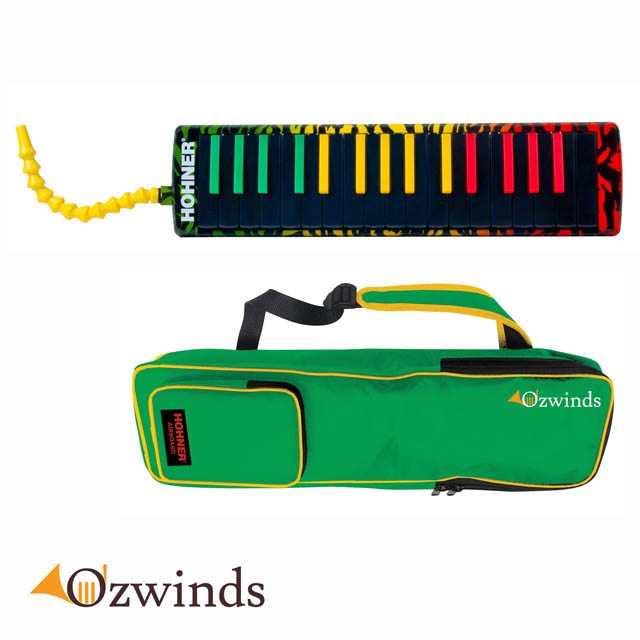 Hohner Airboard Rasta 37 Key Melodica With Blowflow Mouthpiece and Case