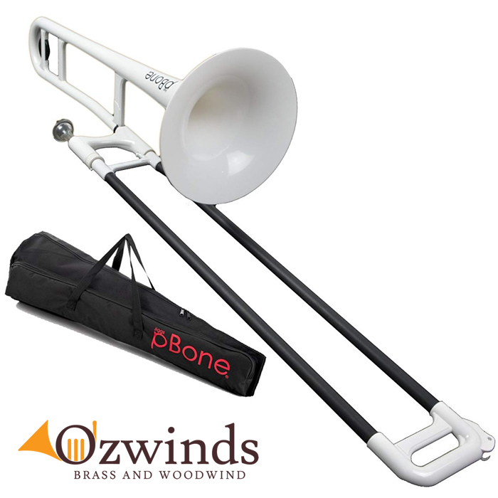 pBone Trombone (White) with carry bag.