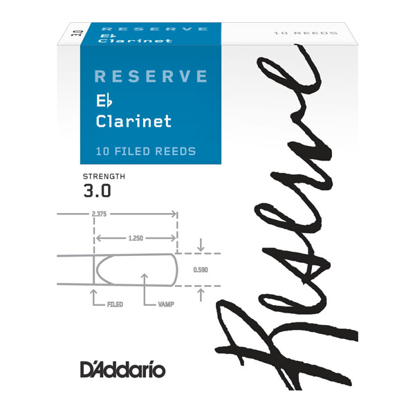 D'Addario Reserve E-flat Clarinet Reeds #2.5 (Box of 10)